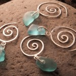 seaglass spiral earrings