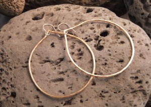 "bronze droplet hoop earrings 2.5"" diameter"
