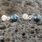 small blue pearl spiral earrings