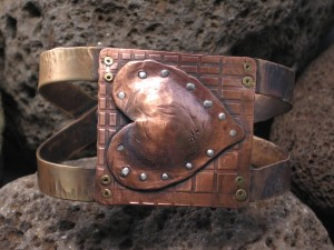 riveted heart cuff