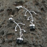 hawaiian black coral earrings