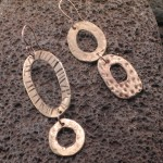 stamped bronze mismatch earrings